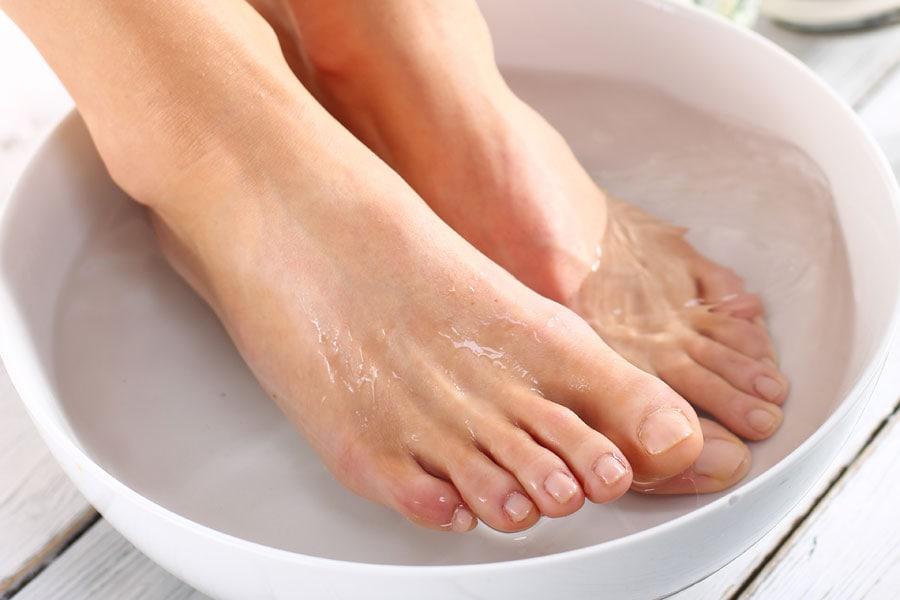 soak your feet to soften your cracked heels
